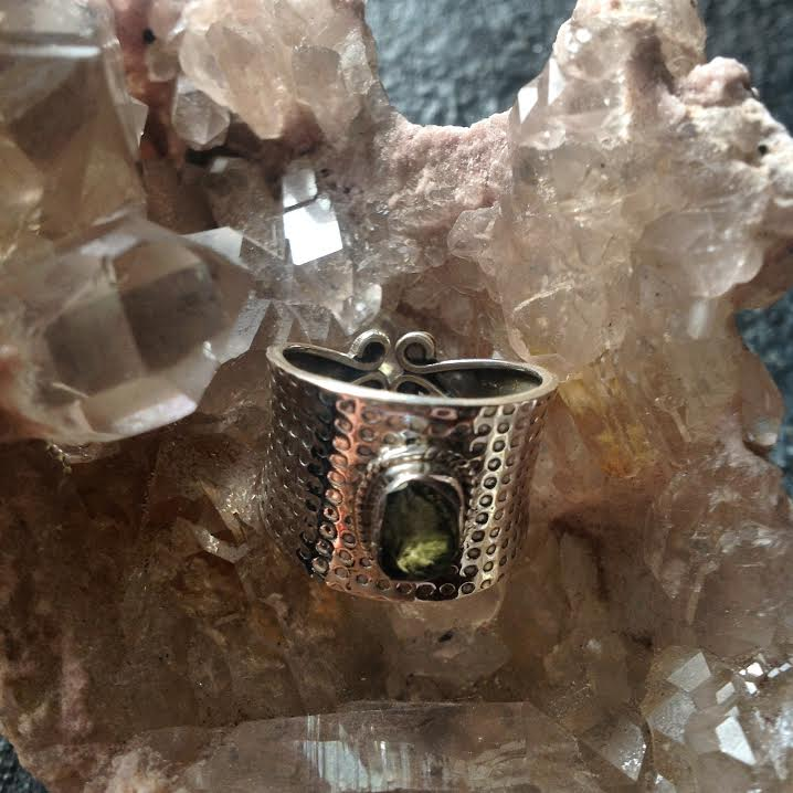 Image of Moldavite Hammered Sterling Silver Ring