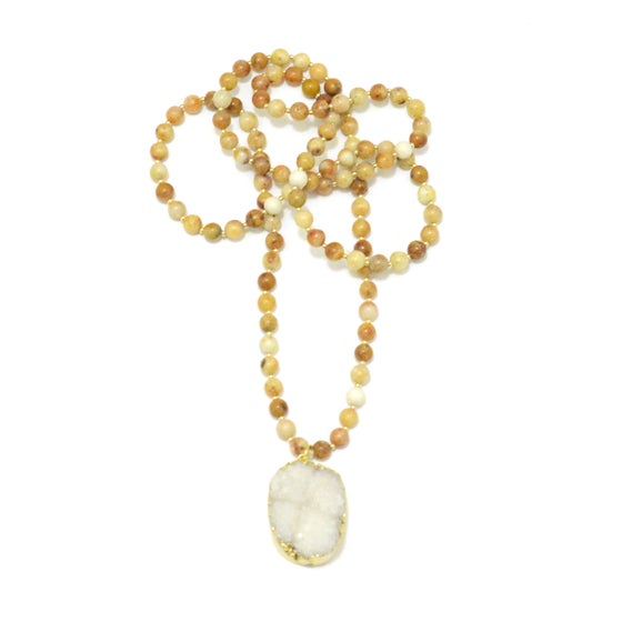 Image of Gemstone & Druzy Mala Necklace