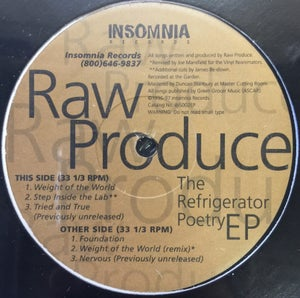 Image of Raw Produce The Refrigerator Poetry EP 1996-97 Limited