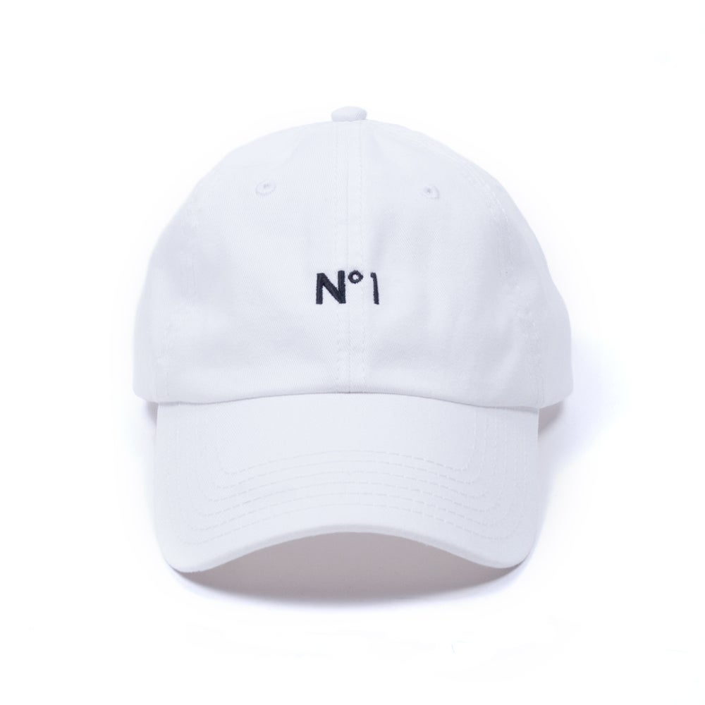 "Image of ""No. 1"" Low Profile Sports Cap - White"