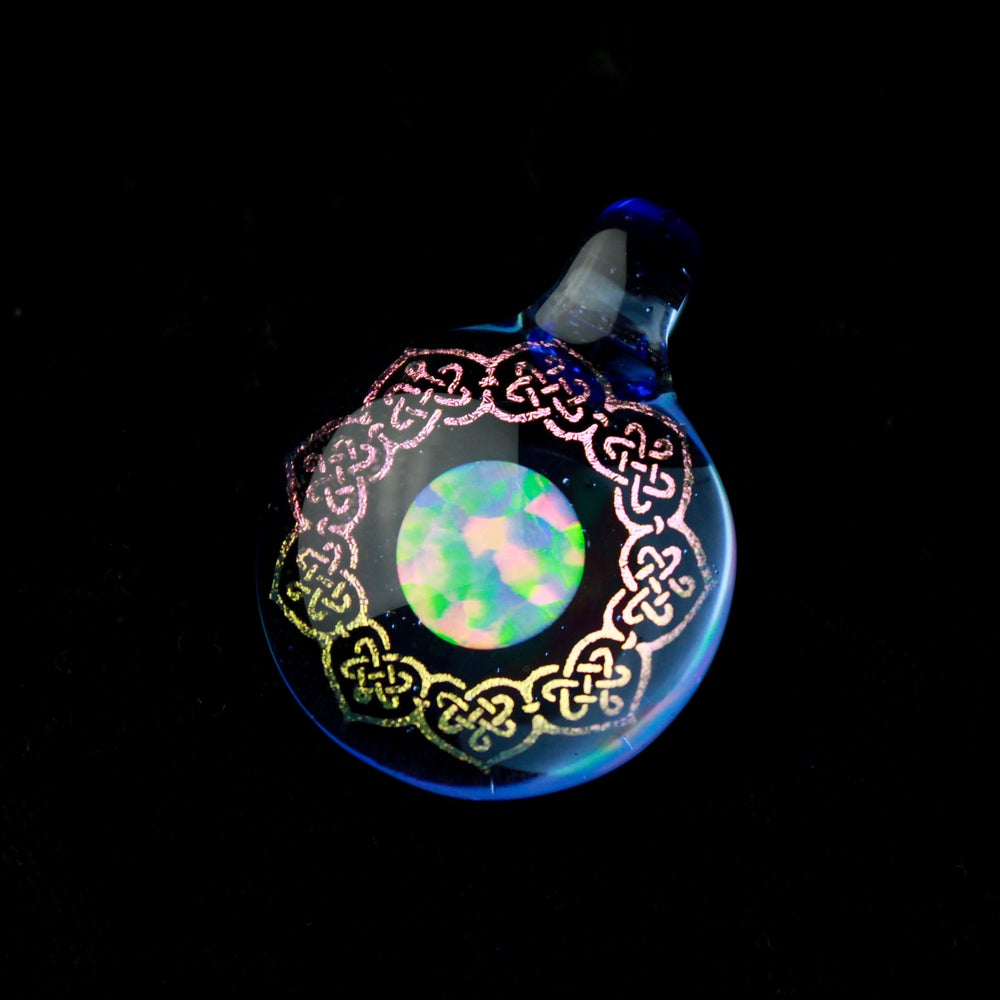 Image of Blue Dream Eternal Knot Pendant featuring a 10mm Opal Coin