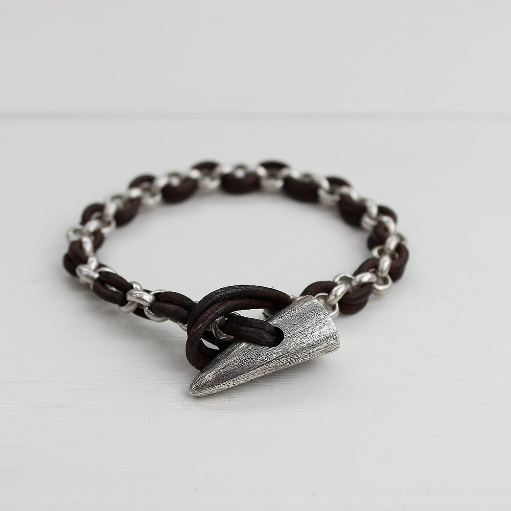 Image of men's toggle bracelet with leather and chain, dark brown