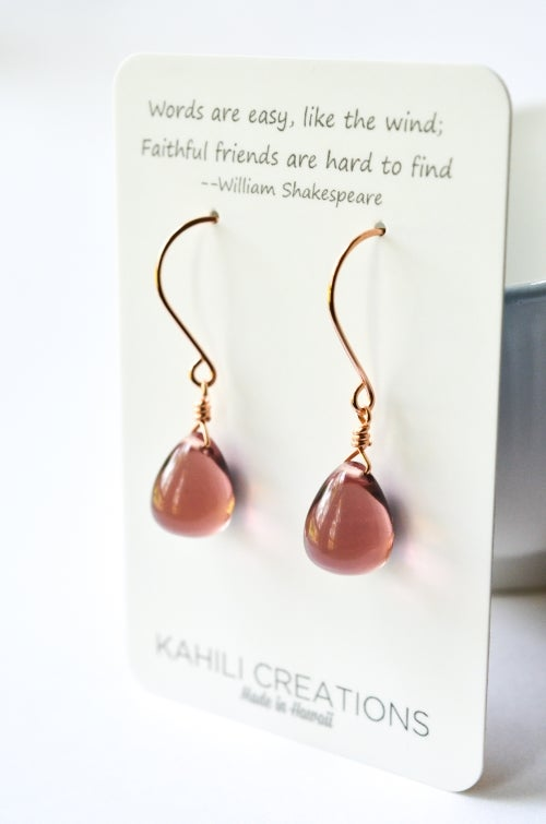 Image of New - Mauve glass drop earrings