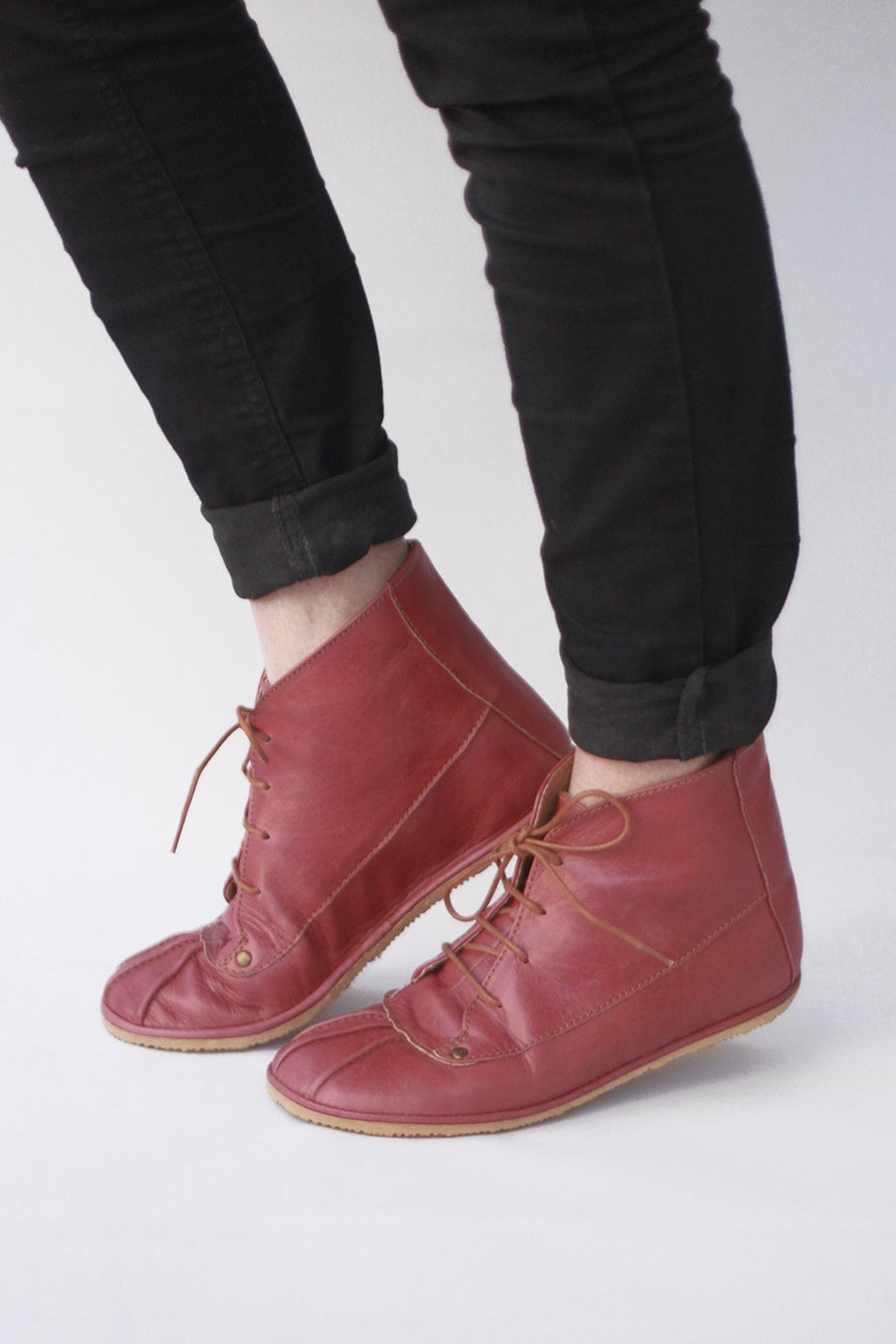 Image of Lace-up ankle boots - Dark Rose