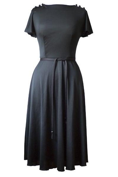 Image of Vintage 1980s Rock Chick Split Sleeve Black Dress