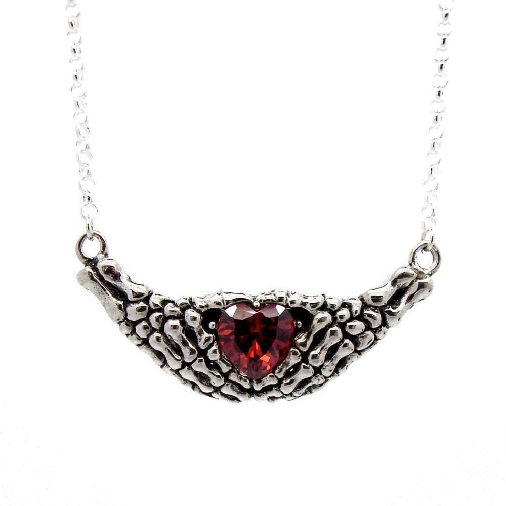 Image of Sterling Silver & Garnet Lovely Bones Necklace