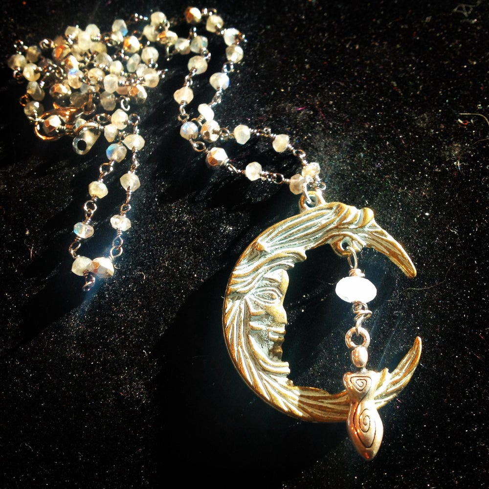Image of Goddess Moon and Moonstone on Labradorite and Pyrite