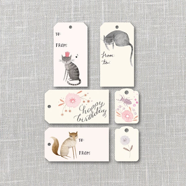 Image of Birthday Gift Tags Printable Instant Download PDF