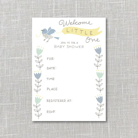 Image of Baby Shower Invitation Yellow & Blue Printable Instant Download PDF