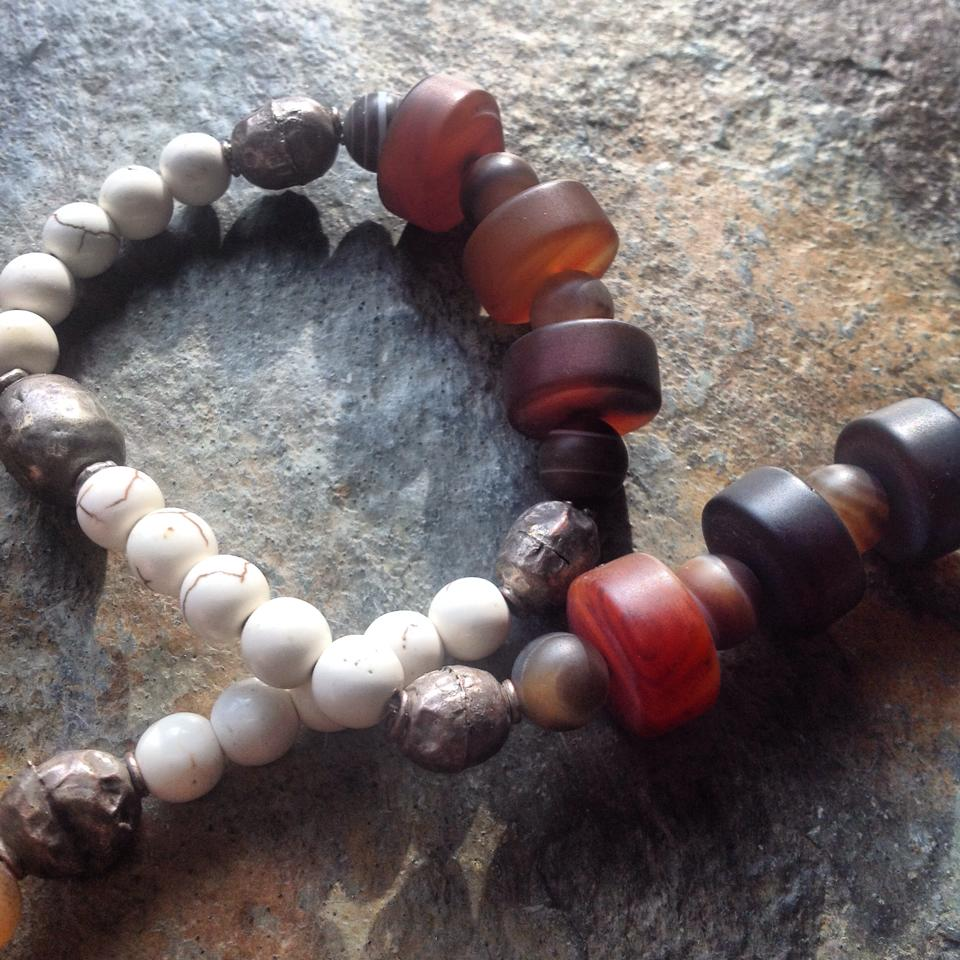 Image of Tribal Agate, Banded Agate, Howlite and Ugandan Silver Beads