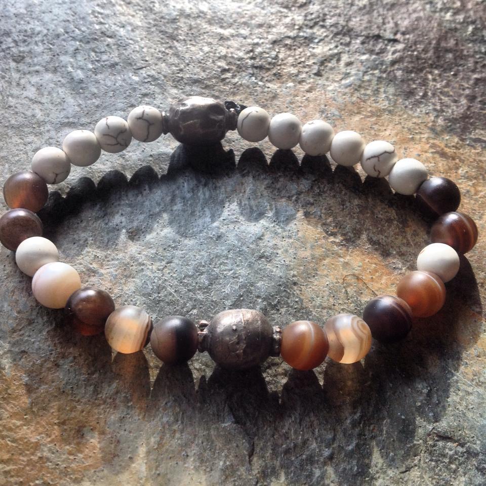 Image of Banded Agate, Howlite, Ugandan Silver Bead