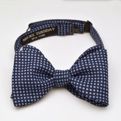Image of Woven Light and Navy Blue Silk-Wool Bowtie