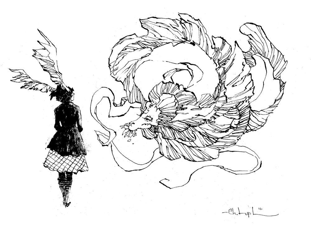 Image of girl and dragon