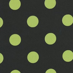 Image of FF Black and  Lime Polka Dot Outdoor Fabric