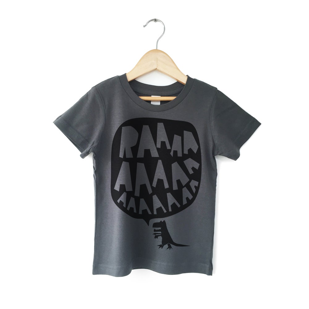Image of RAAAAA Dinosaur T-shirt Black on Dark Grey