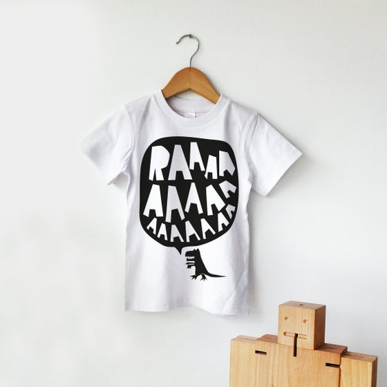 Image of RAAAAA Dinosaur T-shirt Black on White