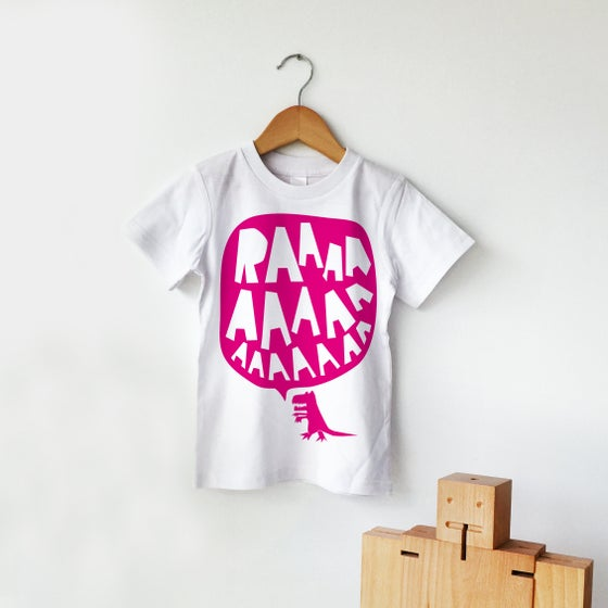 Image of RAAAAA Dinosaur T-shirt Fluorescent Pink on White