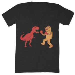 Image of V-Neck Dinosaur Vs Robot