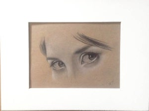 Image of Eyes study - Original matted drawing 9x12