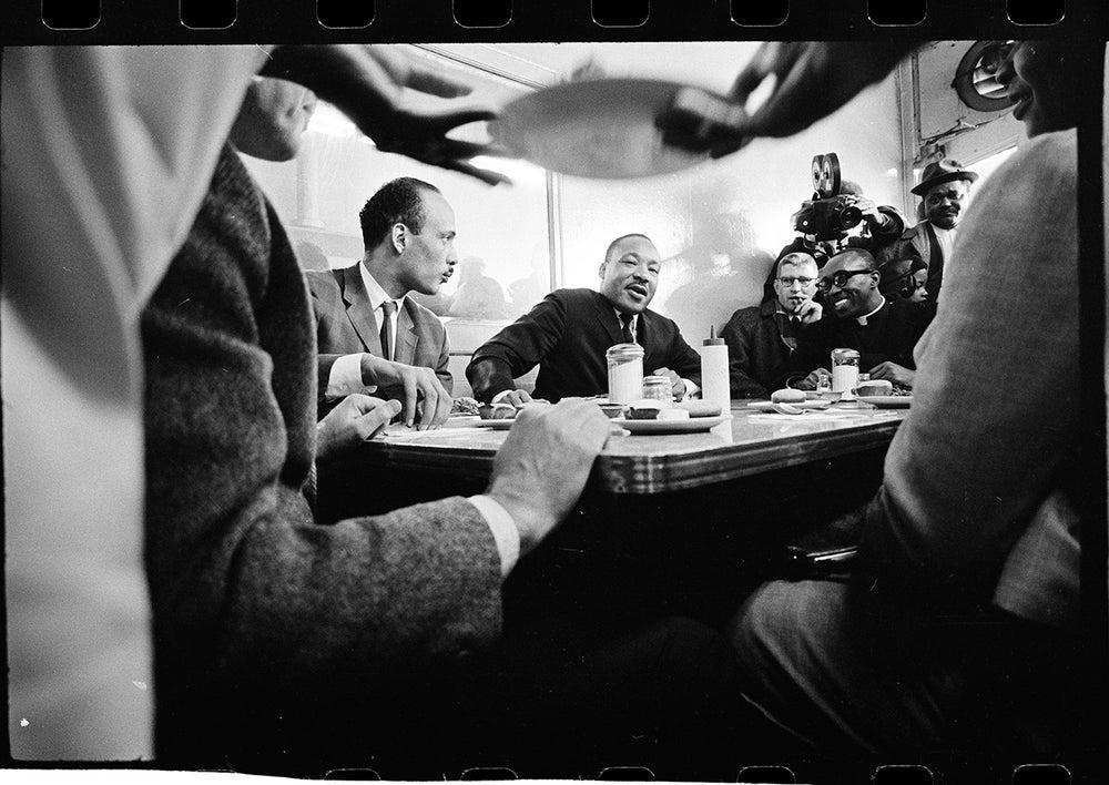 Image of MLK at a diner