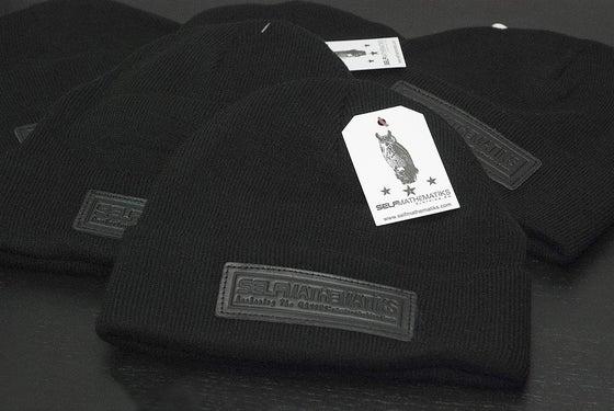 "Image of BLACK ON BLACK GENUINE LEATHER- ""KNIGHT RIDER"", THINKIN' CAP"" Skully/Beanie"