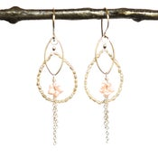 Image of South Sea Keshi Cultured Pearls pink shell plumeria flower earrings sterling silver
