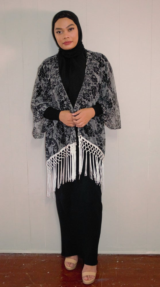 Image of Midnight Rose Fringe (White) Throw Over.