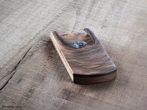 Image of Walnut business card holder - slim card case - unique live edge OOAK accessory for cards 90 x 51 mm