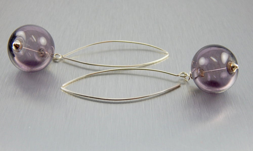 Image of Earrings.  Lavender Blue Glass and Sterling