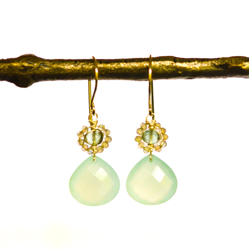 Image of Chalcedony earrings with labradorite