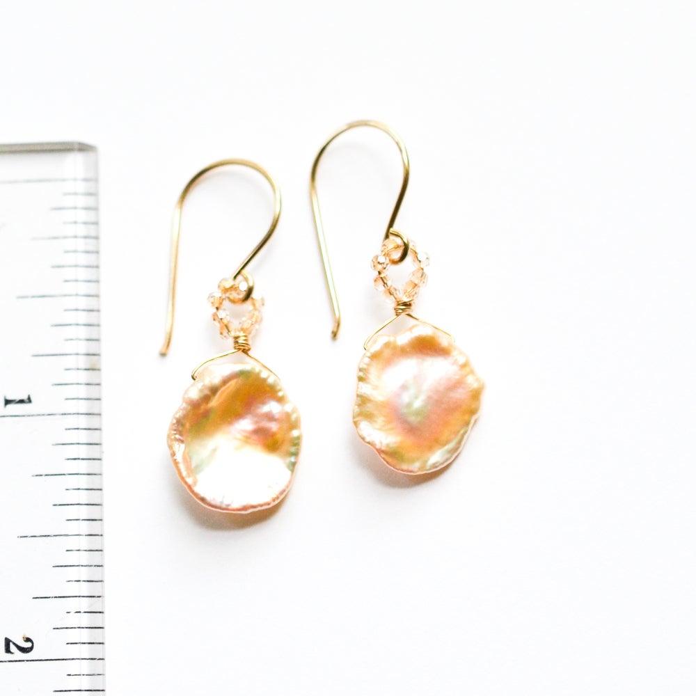 Image of Peach cultured freshwater keshi pearl earrings