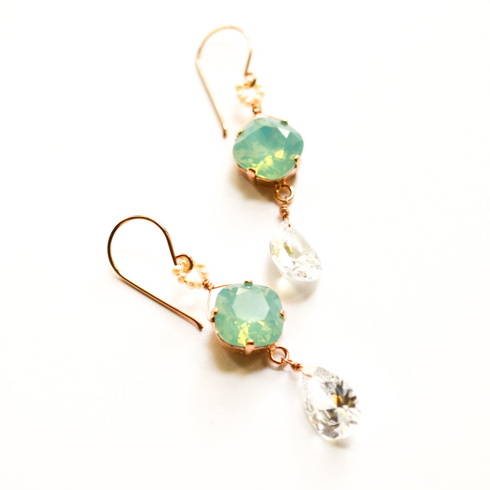Image of Mint crystal earrings with cubic zirconia and seed pearls Made with Swarovski® Crystal elements