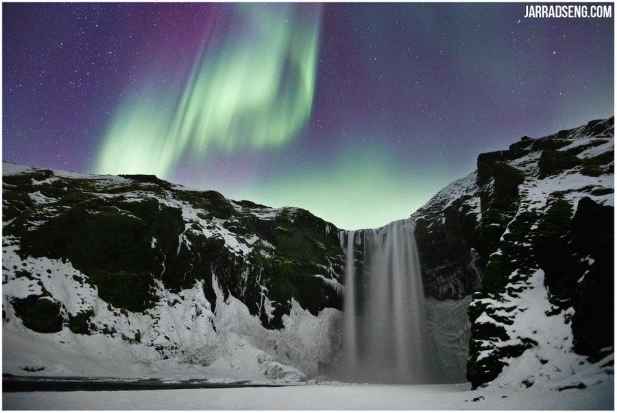 Image of Iceland Series   Lights over Skógafoss