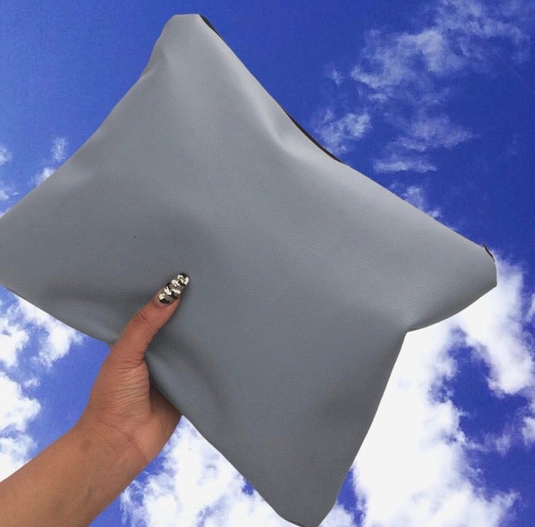 Image of Grey Oversized Faux Leather Clutch Bag