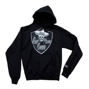 Image of Que Pasa Homes Hoodie Black/Silver Tee