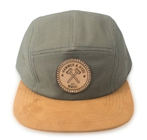 Image of Grey with Suede Brim 5 Panel Hat