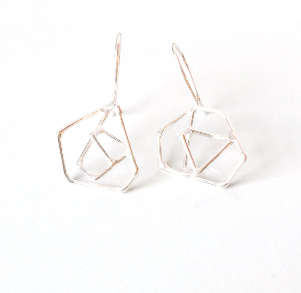 Image of (sterling) silver wire constellation earrings