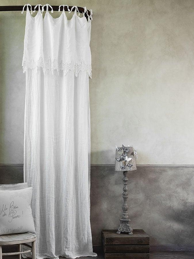 """Image of Tenda in lino con mantovana ricamata """"Ricordi"""""""