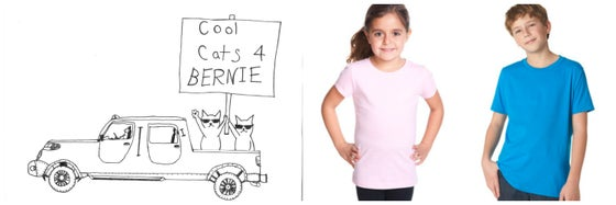 Image of Cool Cats for Bernie! Youth Crew Neck Tee