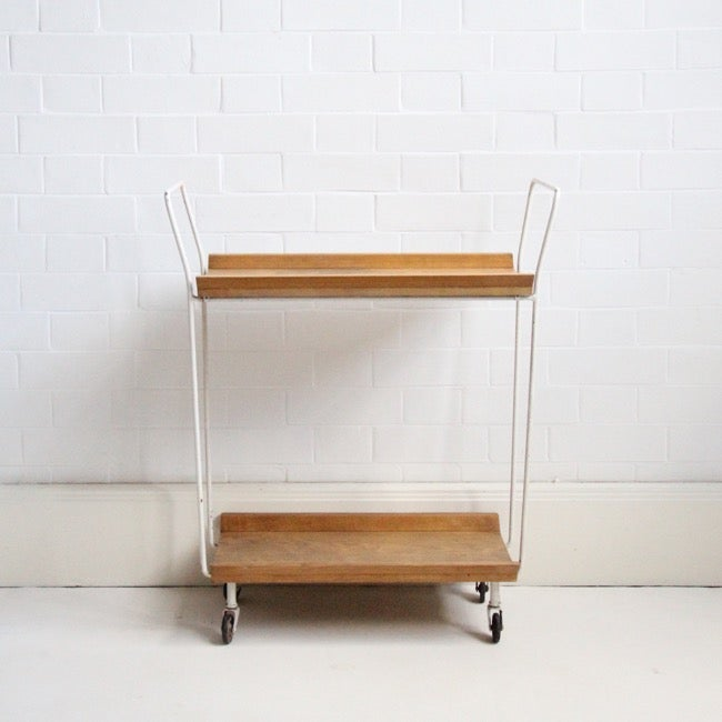 Image of Mid century oak drinks trolley