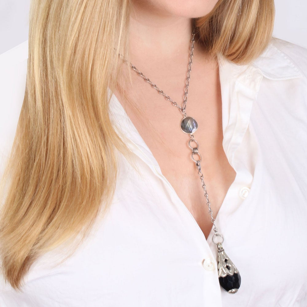 Image of ONYX CONVERTIBLE LARIAT NECKLACE