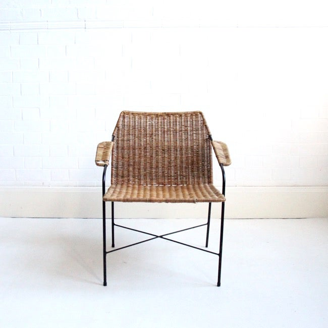 Image of Metal and rattan chair c1960