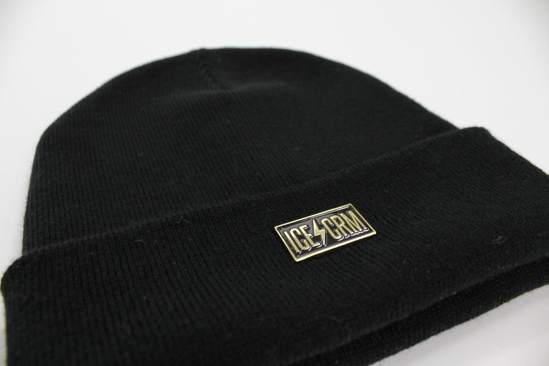 Image of ICE CRM Metal Badge Beanie / Black / Heater Grey / Burgundy Melange