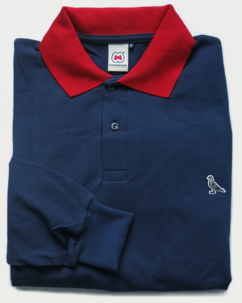 Image of CONTRAST COLLAR L/S POLO [NAVY PIQUÈ]