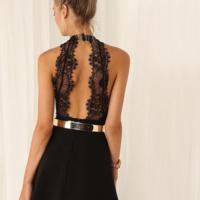 Image of FASHION SEXY LACE BACKLESS BLACK DRESS