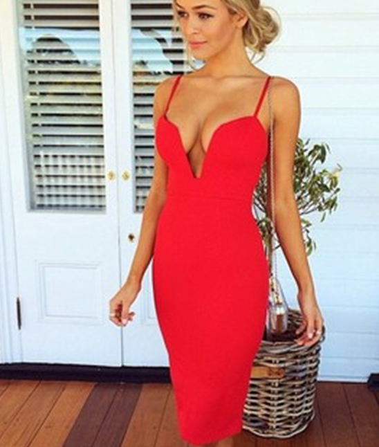 Image of HOT RED V CUTE DRESS