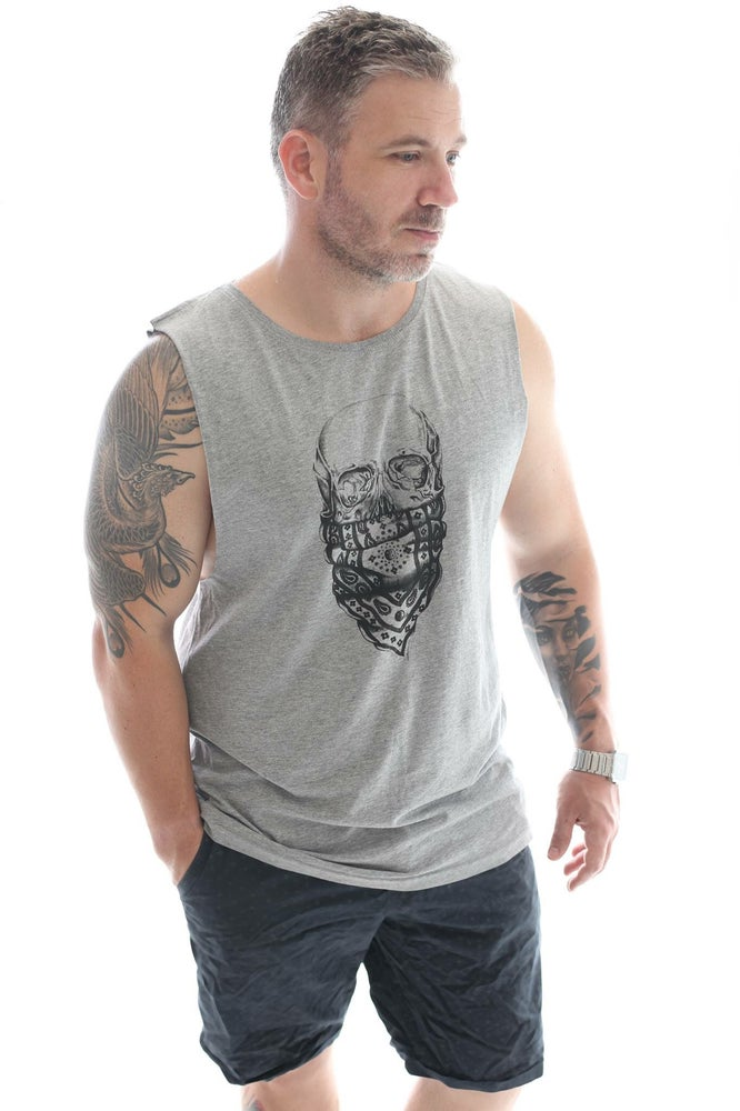 Image of Skull Muscle Singlet (unisex grey)