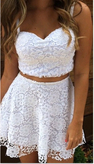 Image of Wipes bosom two-piece v-neck lace dress