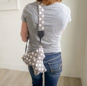 Image of Top DSLR Camera Cover + Matching Camera Strap SET | Cute Gray Polka Dots Padded Camera Coat