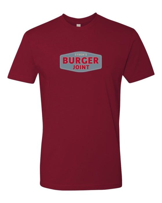 Image of *NEW - Symon's Burger Joint - Unisex T-Shirts - Cardinal or Heavy Metal